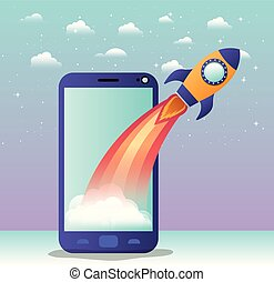 rocket start up with smartphone