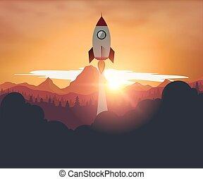 Rocketship on mountain sunset background