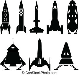 A set of rocket ship vector illustrations