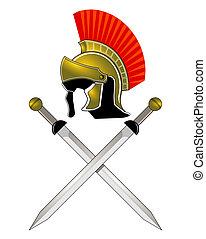 Roman Helmet and swords