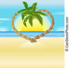 romantic beach, heart palm trees illustration