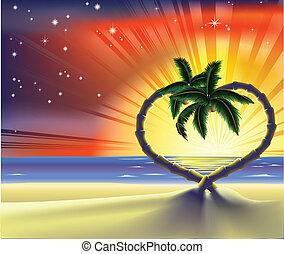 Romantic beach heart palm trees illustration