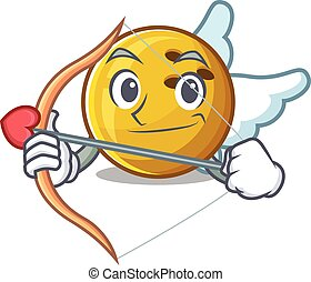 Romantic bowling ball Cupid cartoon character with arrow and wings