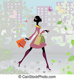 romantic city shopping girl