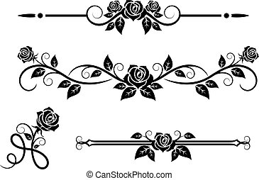 Rose flowers with vintage elements and borders