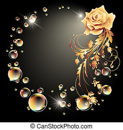 Rose, star and bubbles