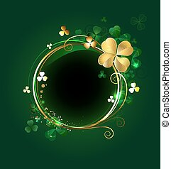 round banner with clover