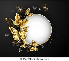 Round banner with gold butterflies