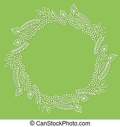Round floral frame on green background