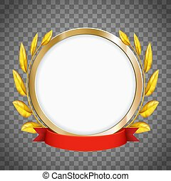 Round frame. Golden laurel wreath with a red ribbon.