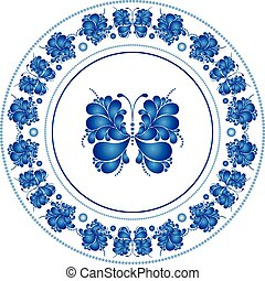 Round frame with butterfly in russian style Gzhel