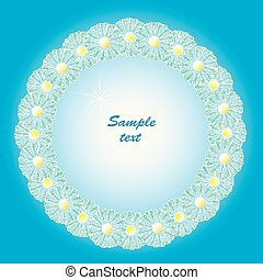 Round frame with daisies.