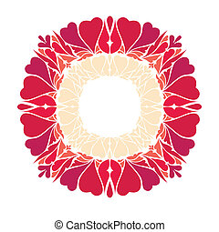 Round frame with decorative elements heart