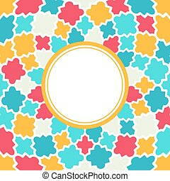 Round frame with Multicolor Quatrefoil pattern