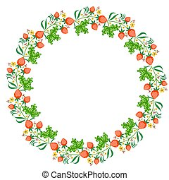 Round frame with strawberries on a white background. Vector graphics.