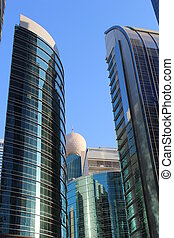 Round skyscraper/business district.