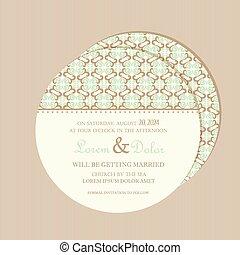 Round vintage wedding card