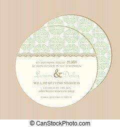 Round wedding invitation card