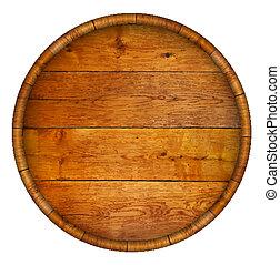 Round wooden barrel. Vector background.