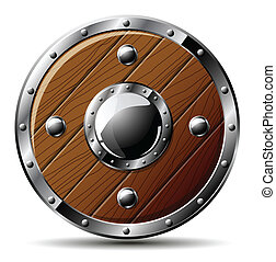 Round shield from wood and steel - isolated on white