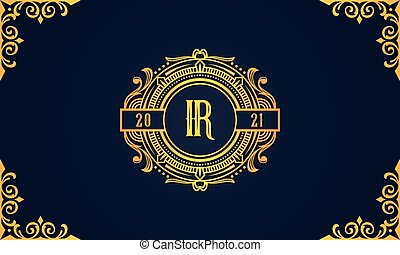 Royal vintage initial letter IR logo. This logo incorporate with luxury typeface in the creative way.It will be suitable for which company or brand name start those initial.
