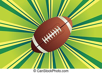 American football, rugby ball on colorful background with rays.