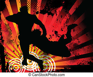 Rugby players silhouette on grunge background. Vector Image