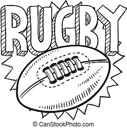 Doodle style rugby sports illustration. Includes text and ball.