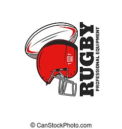 Rugby sport vector icon with rugby football game ball and scrum cap or helmet. Team player equipment or sporting items isolated symbol of sport club, championship match or sporting competition design