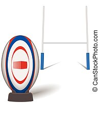 rugby sport league and union ball with H-shaped goal post isolated on a white background