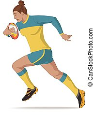 rugby sport league and union player, female running with ball isolated on a white background