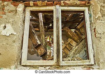 Ruined house window
