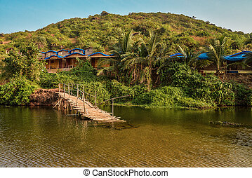Ruined wooden bridge on the Sweet Lake