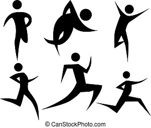Runner stick figure set isolated on a white background.