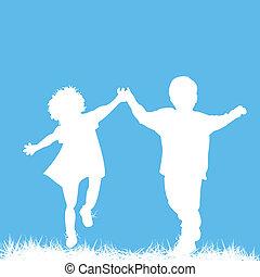 Running children silhouettes