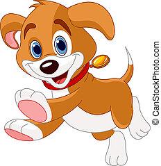 Illustration of the cute fun puppy running