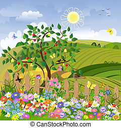 Rural landscape with fruit trees and a fence