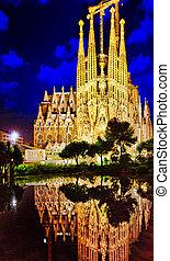 Sagrada Familia, beautiful and majestic outdoor view Barcelona.