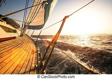 Sailing regatta, during sunset.