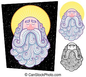 Cartoon illustration of saint in 3 versions.