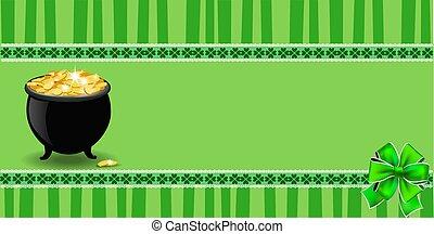 Saint Patricks Day banner with cauldron full of leprechauns gold