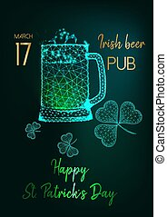Saint Patricks Day party invitation flyer with glow low poly beer mugs, shamrock and text on green