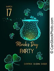 Saint Patricks Day party invitation flyer with glow low poly pot with gold, shamrock leaves and text