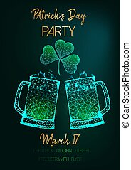 Saint Patricks Day party invitation flyer with two glow low poly beer mugs, shamrock and text on green