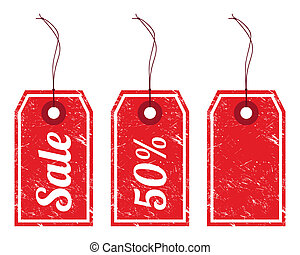 Retro grunge red pirce tags - sale, discount and blank isolated on white background