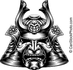 A Japanese samurai mask and helmet in a woodcut style