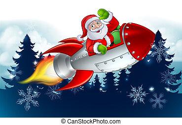 Santa Claus in Rocket Christmas Cartoon