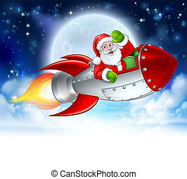 Santa Claus in Rocket Christmas Moon Cartoon
