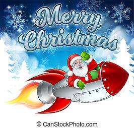 Santa Claus in Rocket Merry Christmas Cartoon