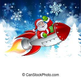 Santa in Rocket Christmas Cartoon